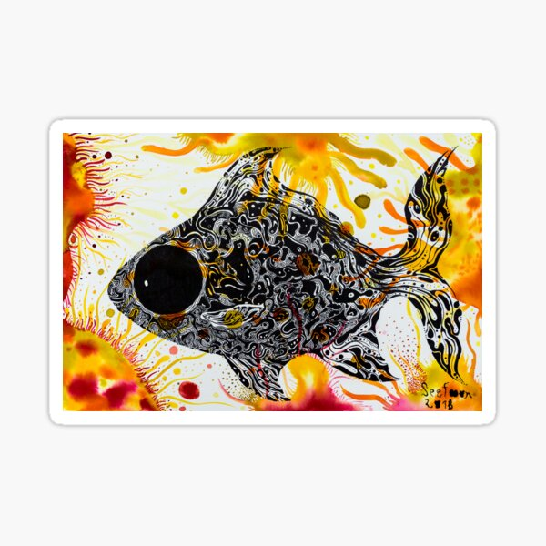 Orange fish Silver barb in aquatic weed home of Silver barb : House of hope Series  Sticker