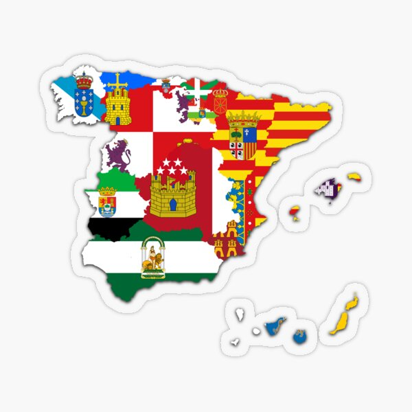 Mapa de banderas de las Comunidades Autónomas españolas, mapa de la bandera de España Pegatina transparente