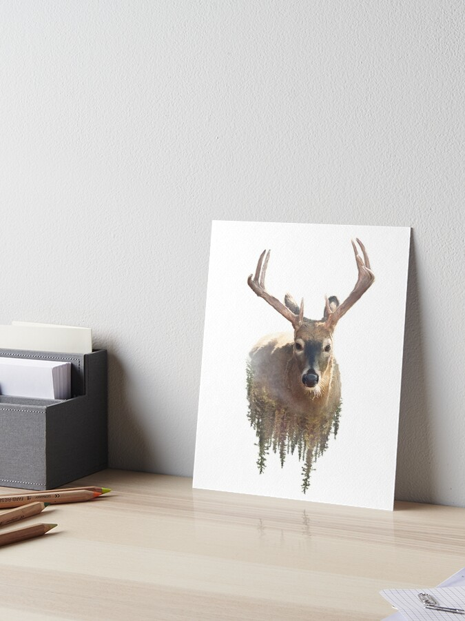 deer and forest watercolor double exposure effect on white background art board print by svetlanna redbubble deer and forest watercolor double exposure effect on white background art board print by svetlanna redbubble