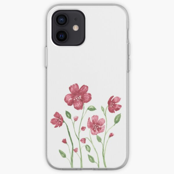 Watercolor flowers - soft red violet petals iPhone Soft Case