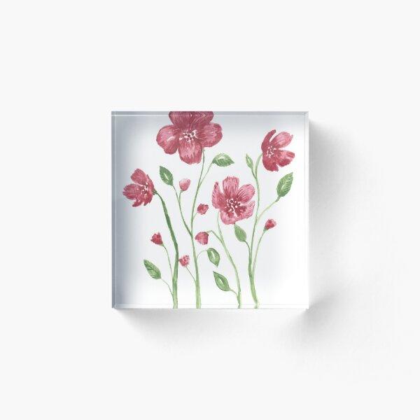 Watercolor flowers - soft red violet petals Acrylic Block