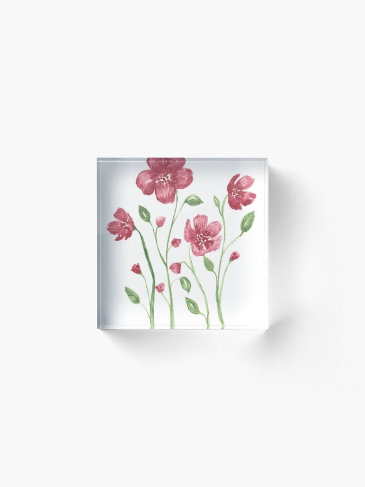 Alternate view of Watercolor flowers - soft red violet petals Acrylic Block