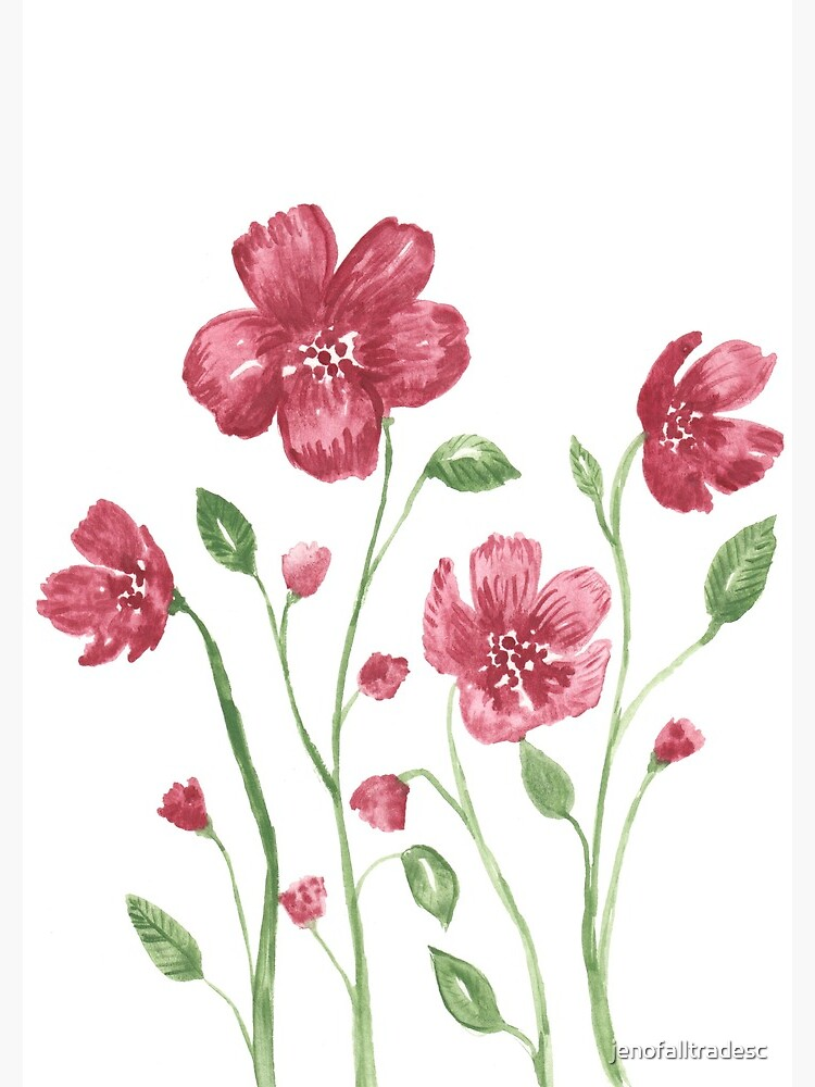 Watercolor flowers - soft red violet petals by jenofalltradesc
