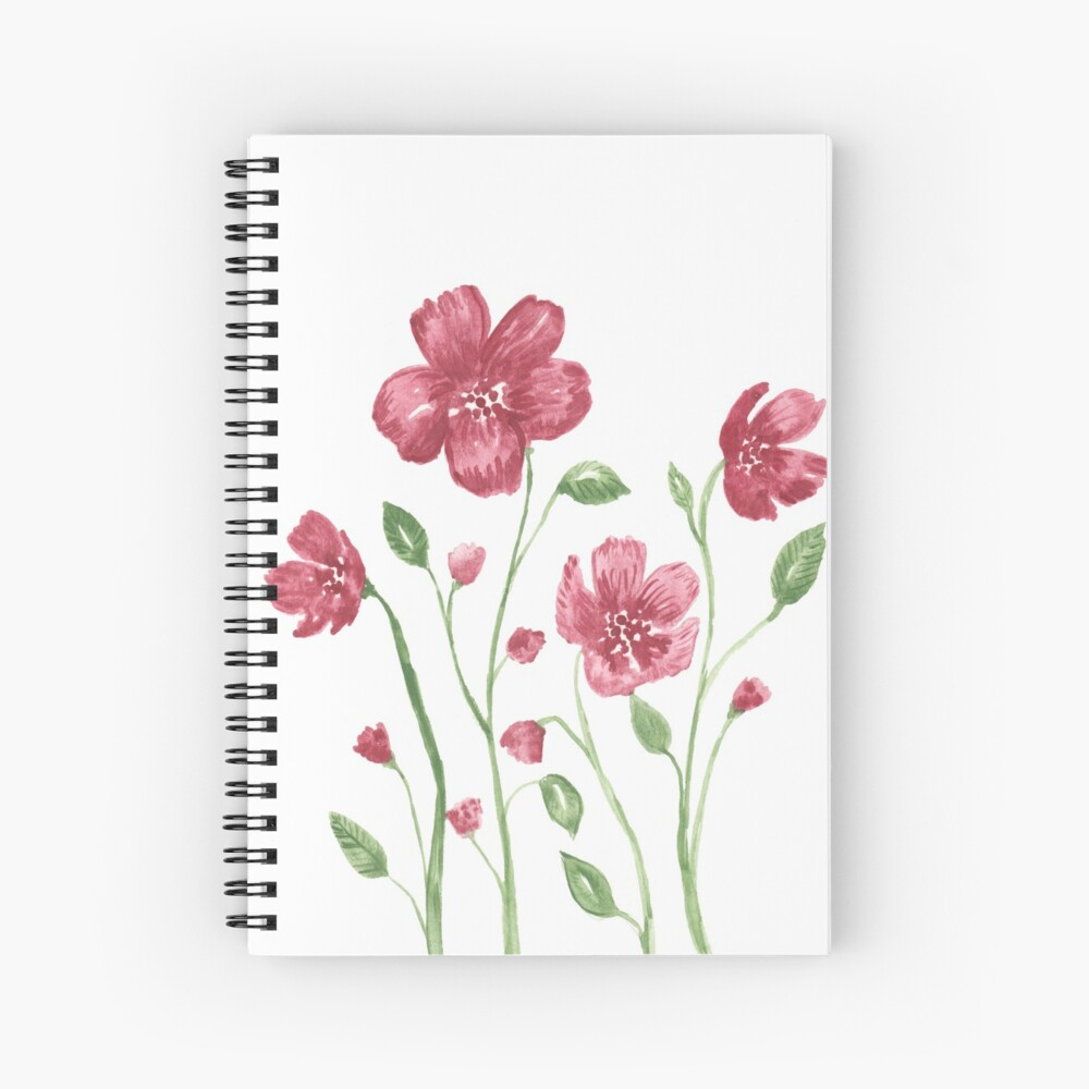 Watercolor flowers - soft red violet petals Spiral Notebook