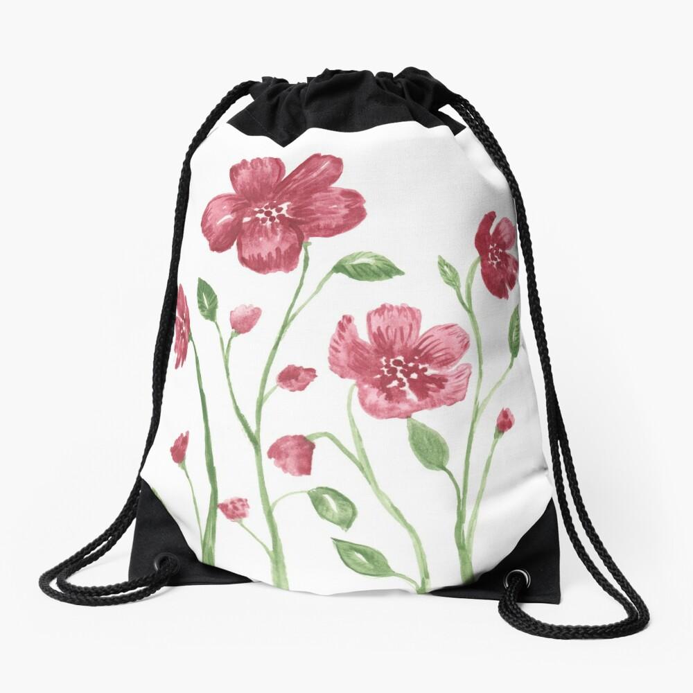 Watercolor flowers - soft red violet petals Drawstring Bag