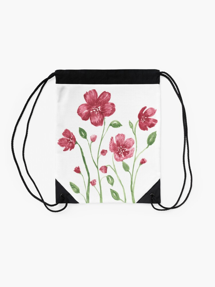 Alternate view of Watercolor flowers - soft red violet petals Drawstring Bag