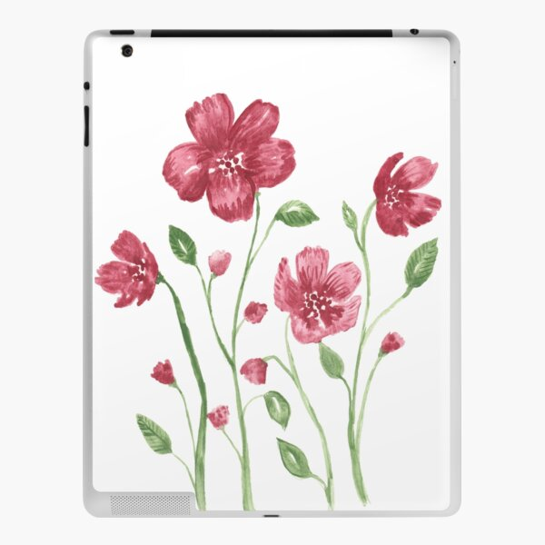 Watercolor flowers - soft red violet petals iPad Skin