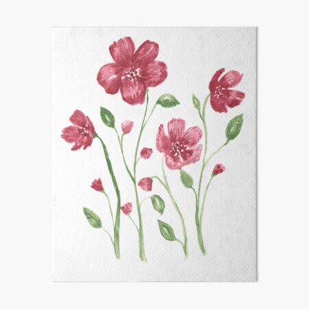 Watercolor flowers - soft red violet petals Art Board Print