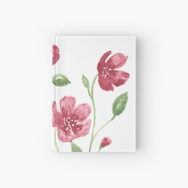 Watercolor flowers - soft red violet petals Hardcover Journal