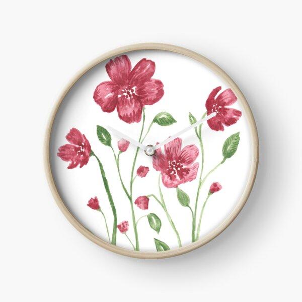 Watercolor flowers - soft red violet petals Clock