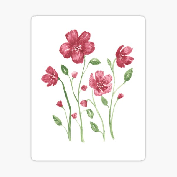 Watercolor flowers - soft red violet petals Sticker