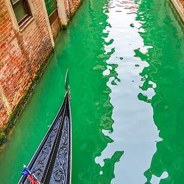 Gondola Crossing Small Canal, Venice, Italy by DFLCreative
