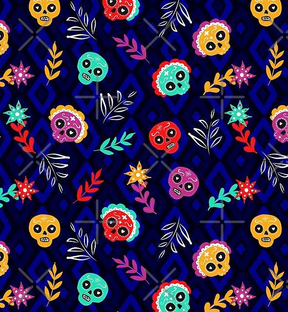 Fiesta Skulls #redbubble #skulls by designdn