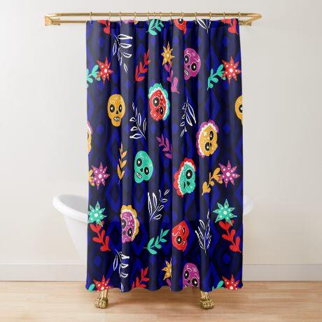 Fiesta Skulls #redbubble #skulls Shower Curtain