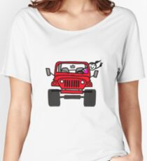 Jeep Wave Red - Girl Women's Relaxed Fit T-Shirt