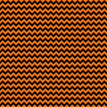 Dark Pumpkin Orange and Black Halloween Chevron Stripes  by Creepyhollow