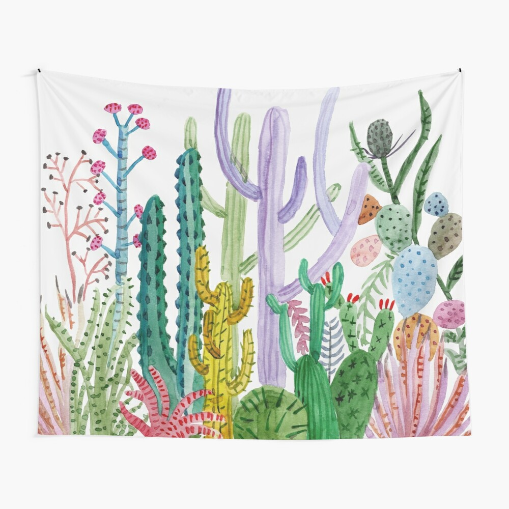 Watercolor Cacti Wall Tapestry