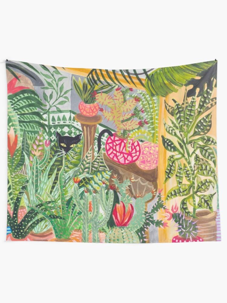 Alternate view of Black cat in the garden Tapestry