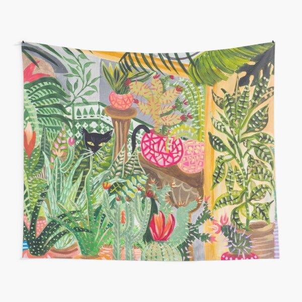 Black cat in the garden Tapestry
