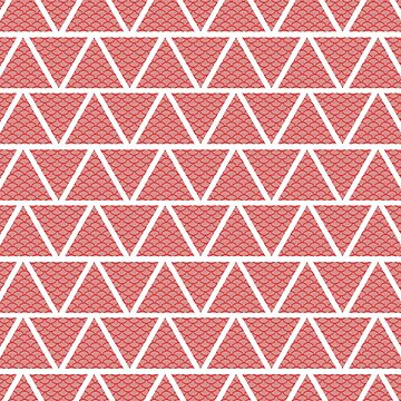 Retro Triangles & Curves Red  by ImageMonkey