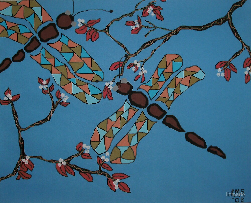 Dragonflies and Cherry Blossoms by linmarie