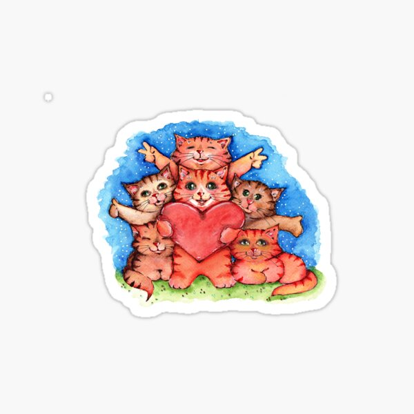 Love and cats Sticker