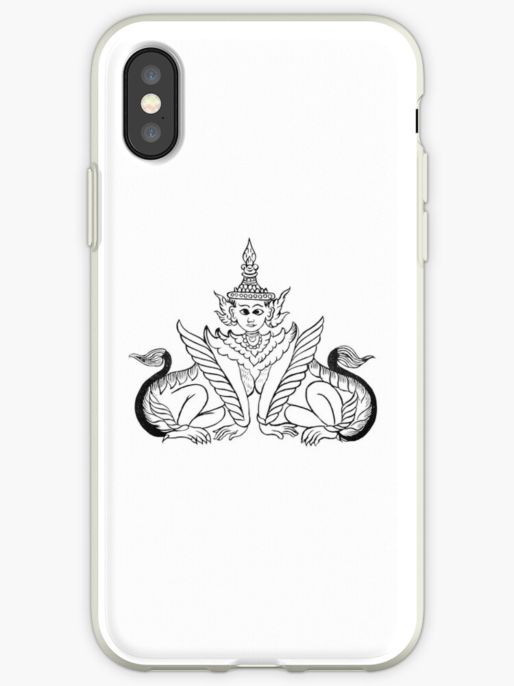 'Manussiha, Manokthiha, Myanmar, Burma, Burmese depiction of the Man Lion,  Sphinx' iPhone Case by TOM HILL - Designer
