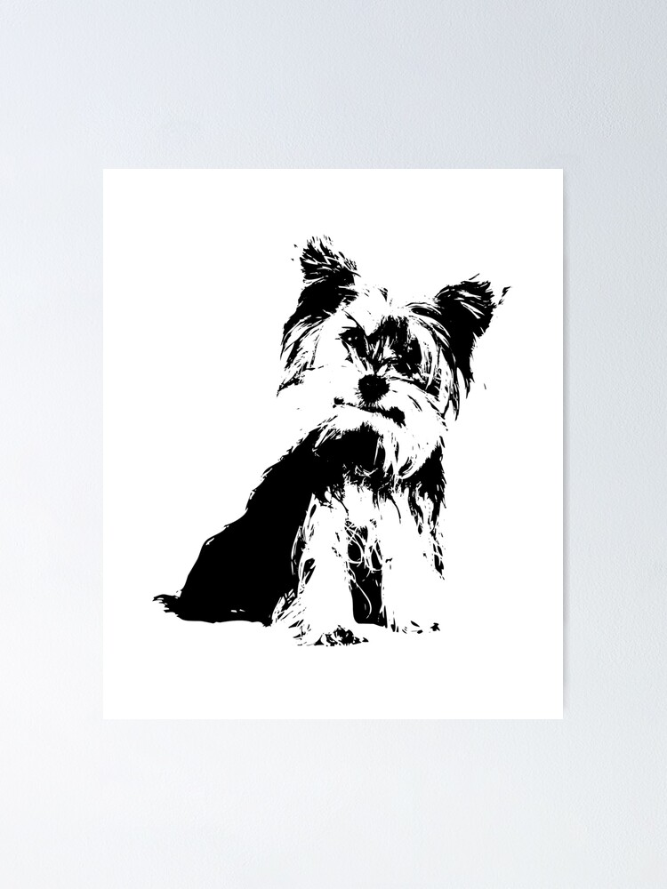 Yorkie Terrier Silhouette Poster By Abowlofsoda Redbubble