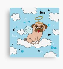 Pug Angel with Wings, Halo Canvas Print