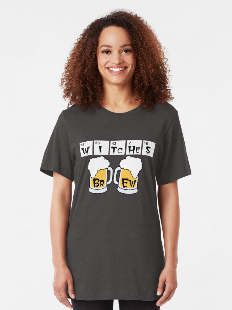 Alternate view of Witches Brew periodic table halloween t-shirt Slim Fit T-Shirt