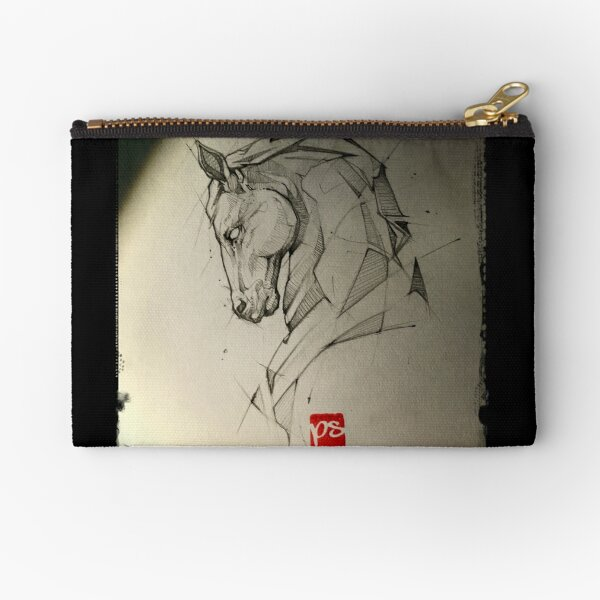 Sketched Horses and Bandanna Pattern Fabric Zipper Pouch