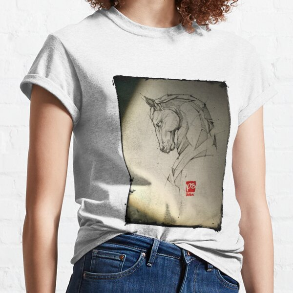 horse pencil sketch psdelux Classic T-Shirt