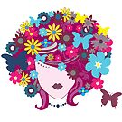 Punk Mother Nature With Floral Hair by Bubble-Designs