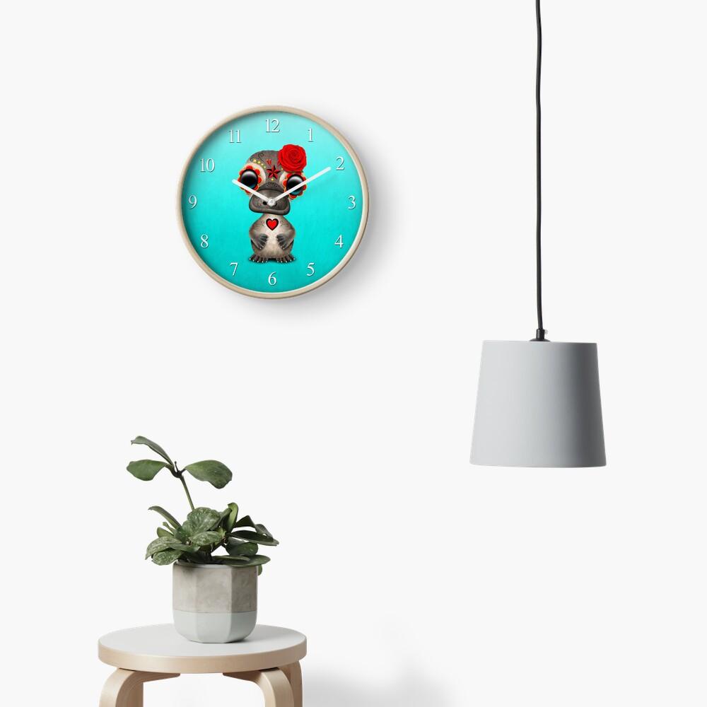 Red Day of the Dead Sugar Skull Baby Platypus Clock
