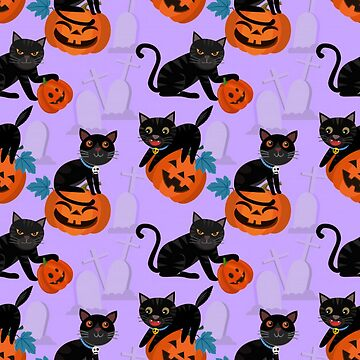 Halloween Black Cat and Pumpkins by pugmom4