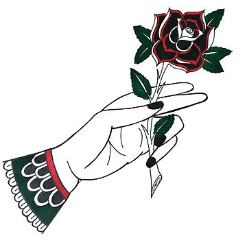 Traditional Hand & Rose Tattoo Design by Tamz-T