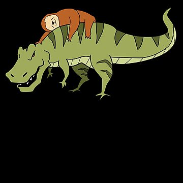 Sloth Riding T-Rex Dinosaur Riding by PrintPress