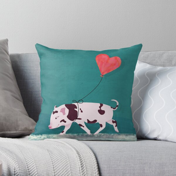 Baby Pig With Heart Balloon Throw Pillow