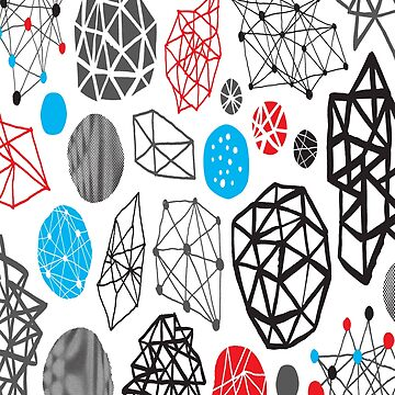 Blue Black Red White Shape Pattern by iwaygifts
