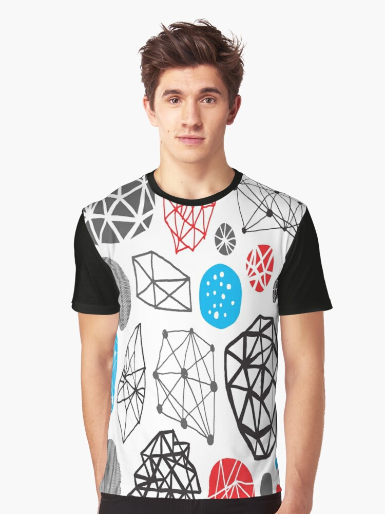 Blue Black Red White Shape Pattern Graphic T-Shirt Front