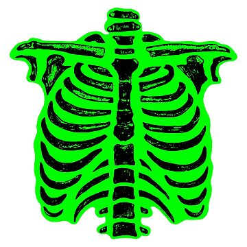 Halloween Skeleton Rib Cage Green  by ArtVixen