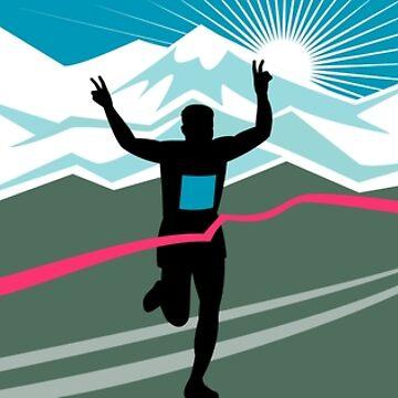 Marathon Runner Finishing Wide Format by patrimonio