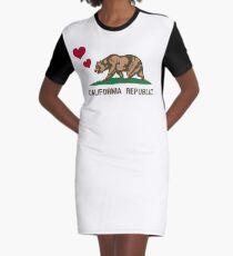 California Republic Bear with Hearts Graphic T-Shirt Dress