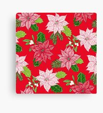 Red Winter Poinsettia Flower Pattern Canvas Print