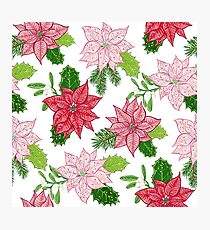 Red and White Winter Poinsettia Flower Pattern Photographic Print