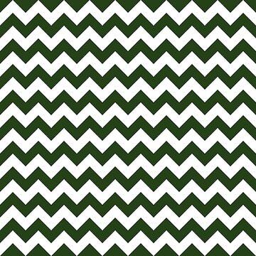 Large Dark Forest Green and White Chevron Stripe Pattern by podartist