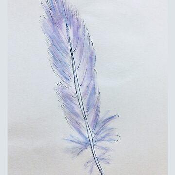 Feather Blues & Pinks watercolors 92618 by mandalafractal