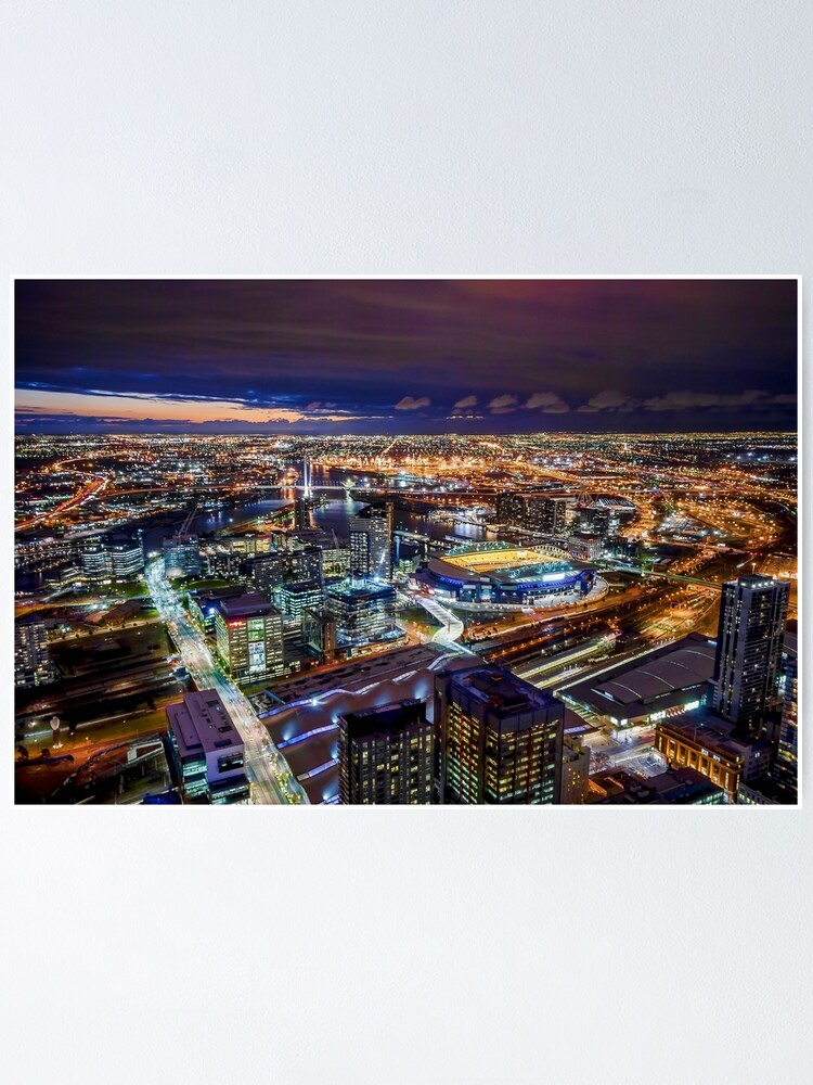 Alternate view of Melbourne at Night Poster