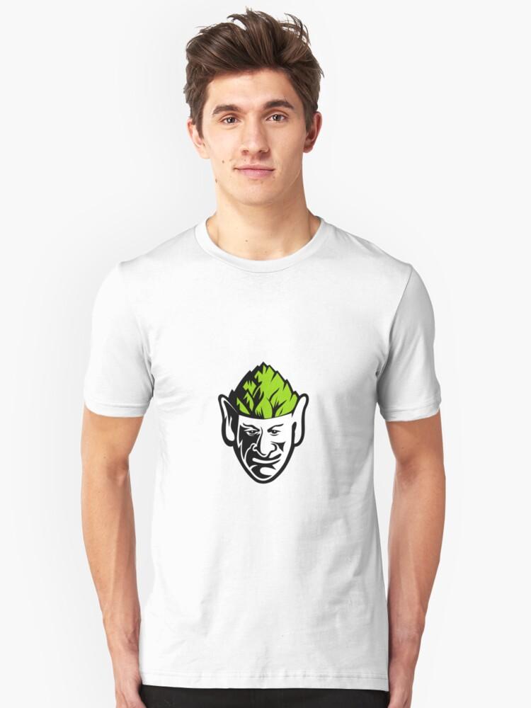 Elf Wearing Hops Hat Mascot Unisex T-Shirt Front