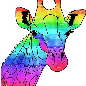 Colorful Giraffe Watercolor Painting Art T-shirt by zcecmza
